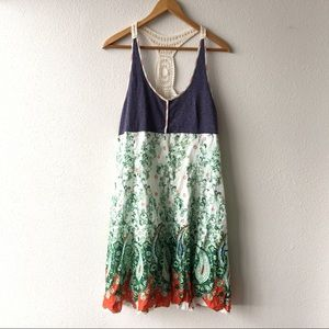 Free People Mixed Print Boho Crochet Dress Size 12